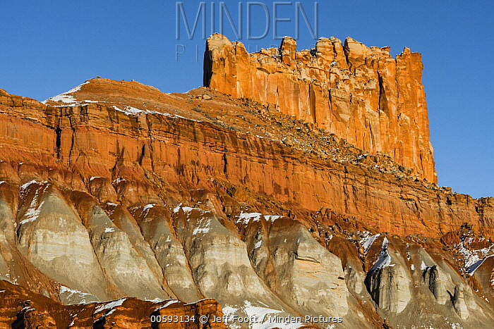 Rock formation in winter, The Castle, Capitol Reef National Park, Utah