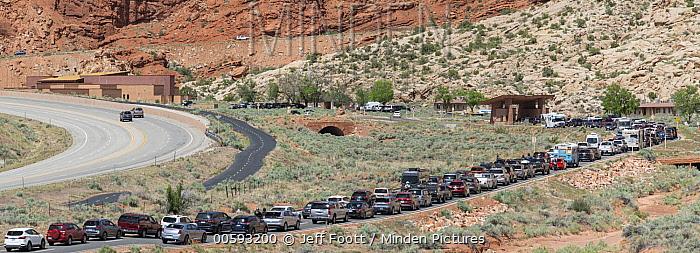Tourists waiting at park entrance, overcrowding the park, Arches National Park, Utah