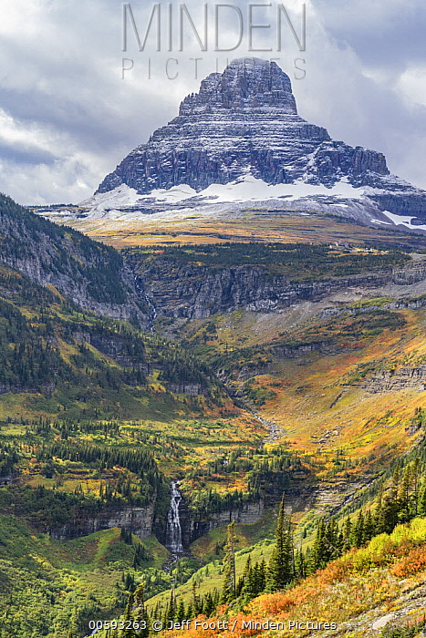 Waterfall and mountain, Mount Reynolds, Glacier National Park, Montana