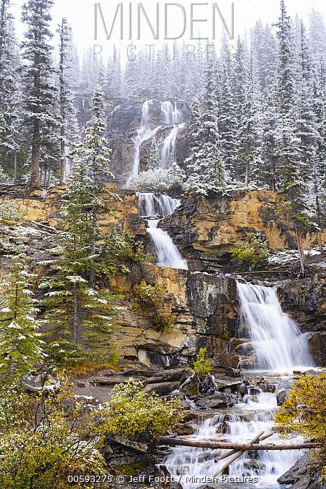 Waterfall after autumn snowfall, Tangle Creek Falls, Jasper National Park, Alberta, Canada