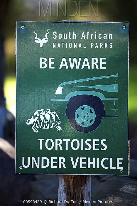 Tortoise warning sign, Kgalagadi Transfrontier Park, South Africa