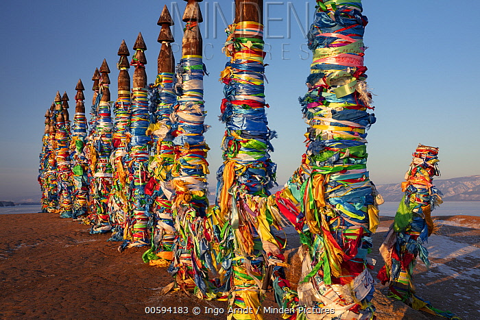 Prayer pillars with flags, Olkhon Island, Lake Baikal, Siberia, Russia