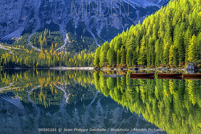 Alpine lake and mountains, Lake Braies, Fanes-Sennes-Prags Nature Park, Dolomites, Tyrol, Italy