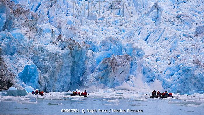 Tourists and calving glacier, South Sawyer Glacier, Alaska