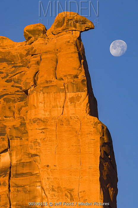 Sandstone formation and full moon, Arches National Park, Utah