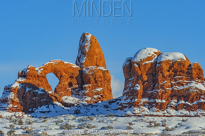 Turret Arch in winter, Arches National Park, Utah