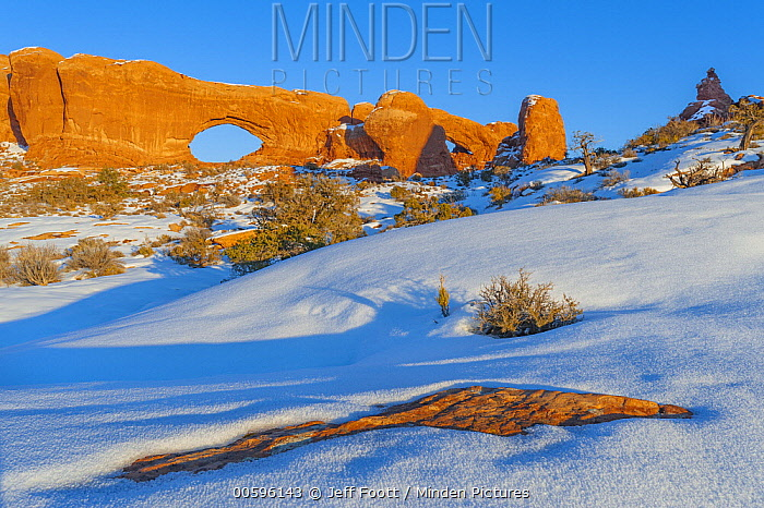 North Window and South Window arches in winter, Arches National Park, Utah