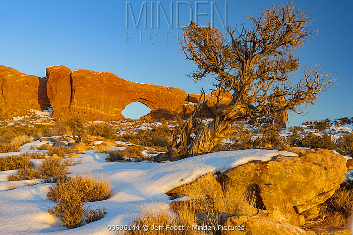 North Window arch in winter, Arches National Park, Utah