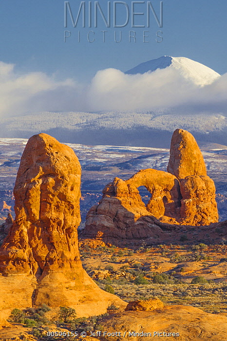 Turret Arch in winter, La Sal Mountains, Arches National Park, Utah