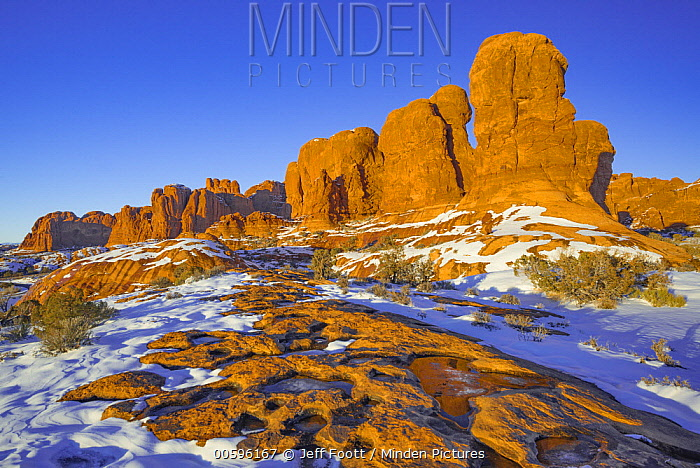 Sandstone rock formation in winter, Arches National Park, Utah