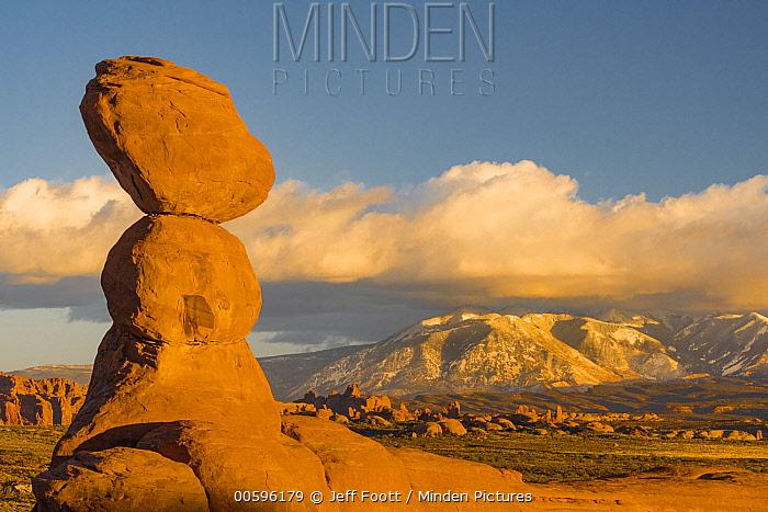 Sandstone formation, La Sal Mountains, Arches National Park, Utah