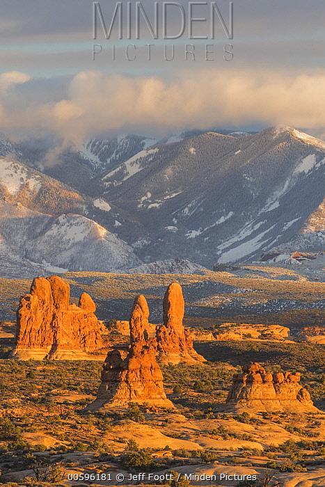 Sandstone formations, La Sal Mountains, Arches National Park, Utah