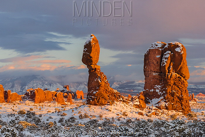 Balanced Rock at sunset in winter, Arches National Park, Utah