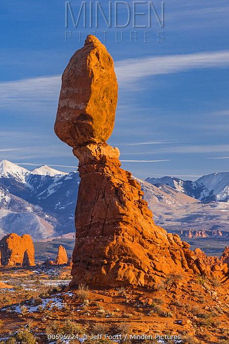 Balanced Rock formation, La Sal Mountains, Arches National Park, Utah