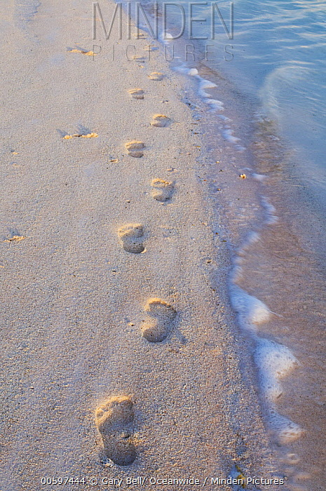 Footprints on tropical beach, Keeling Islands, Australia