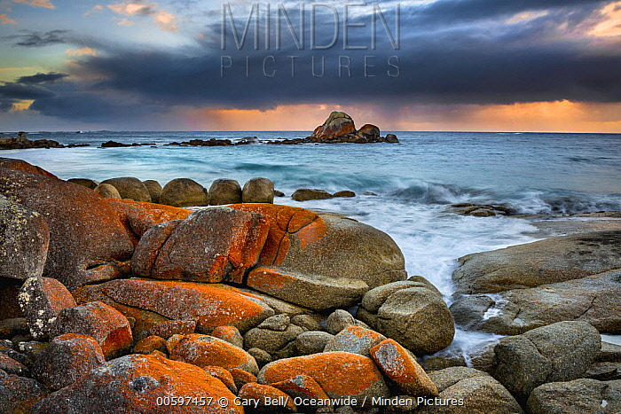 Coastal rocks during storm, Bay of Fires, Tasmania, Australia