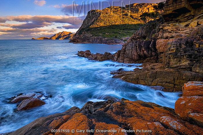 Coast at sunset, Sleepy Bay, Freycinet National Park, Tasmania, Australia