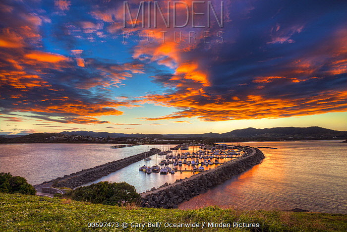 Harbor at sunset, Solitary Islands Marine Park, New South Wales, Australia