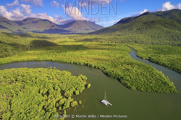 Mangroves along coast and boat, Deluge Inlet, Hinchinbrook Island National Park, Queensland, Australia