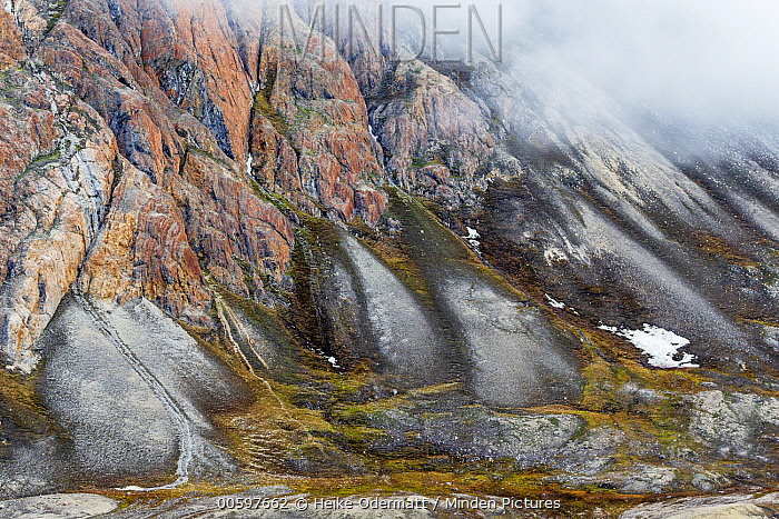 Mountains and tundra in fog, Faksefjellet, Lomfjorden, Svalbard, Norway