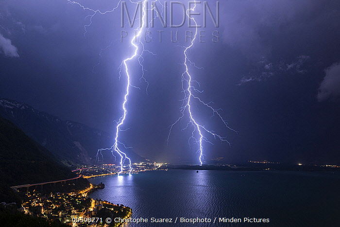 Lightning strikes, Lake Geneva, Vaud, Switzerland