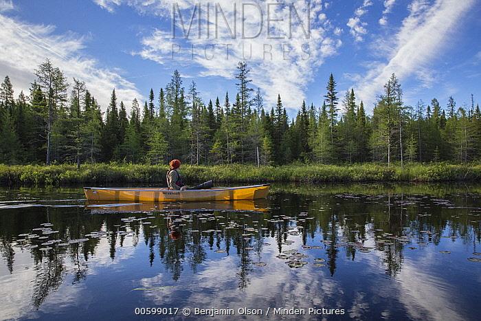 Canoer paddling, Junco Lake, Superior National Forest, Minnesota