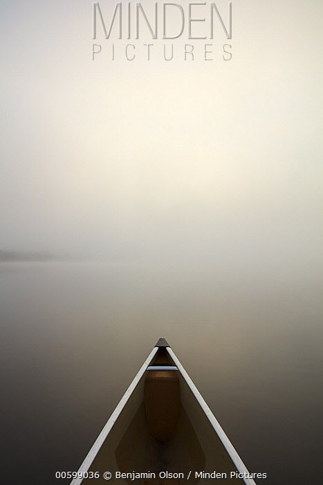 Canoe in fog, Superior National Forest, Minnesota
