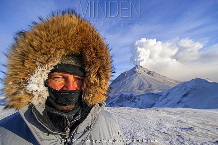 Photographer Sergey Gorshkov and volcano, Kizimen, Russia