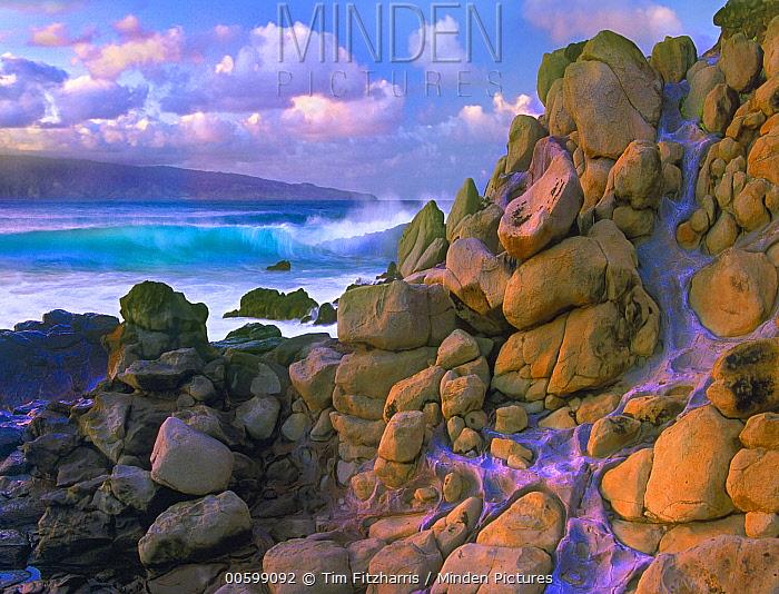 Coastal rocks and waves, Honolua Bay, Maui, Hawaii