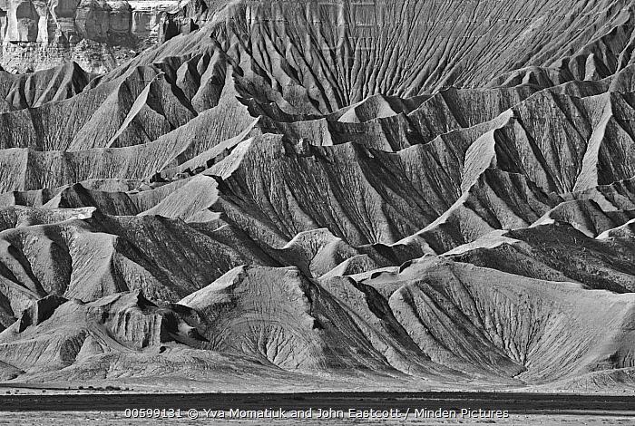 Deeply eroded butte in desert, Factory Butte, Utah