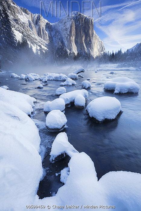 El Capitan above Merced River in winter, Yosemite National Park, California