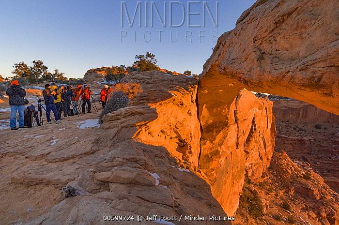Photographers overcrowding rock arch, Mesa Arch, Canyonlands National Park, Utah