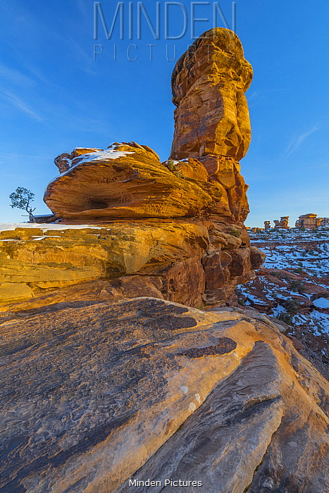 Rock formation in winter, Canyonlands National Park, Utah