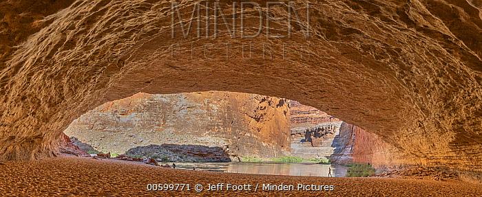Hikers in cavern, Marble Canyon, Colorado River, Grand Canyon National Park, Arizona