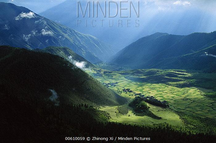 Tibetan village and agricultural fields in Yunnan Snub-nosed Monkey (Rhinopithecus bieti) habitat, Tibet  -  Xi Zhinong