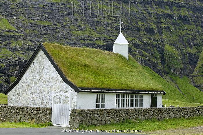Sod-roofed church, Streymoy Island, Faroe Islands  -  Cyril Ruoso