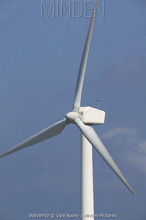 Windmill used for alternative energy on wind farm, Denmark  -  Cyril Ruoso