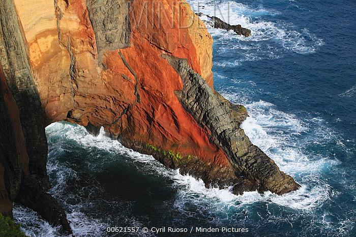 Rocky volcanic cliff in the Ponta de Sao Lourenco Nature Reserve, Madeira  -  Cyril Ruoso