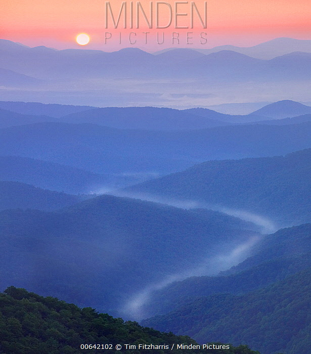 Mist in valley, Shining Rock Wilderness from Blue Ridge Parkway, North Carolina