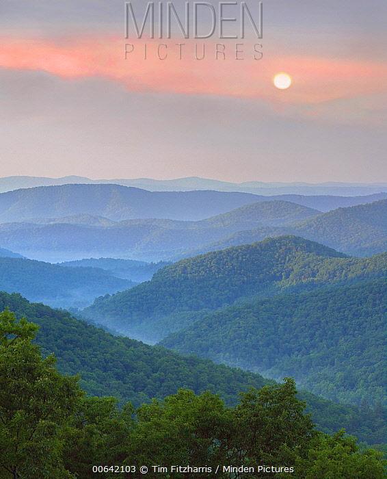 Hills at sunrise, Pisgah National Forest from Blue Ridge Parkway, North Carolina