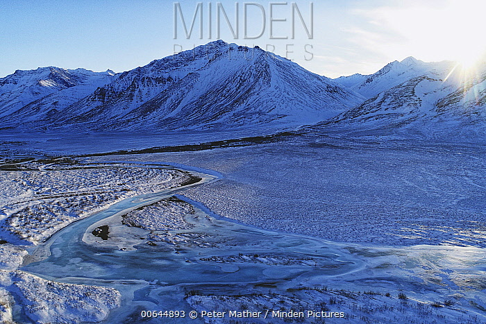 Frozen river and mountains, Brooks Mountains, Arctic National Wildlife Refuge, Alaska
