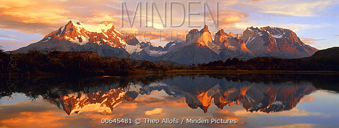 Lake and mountains at sunrise, Torres del Paine National Park, Chile