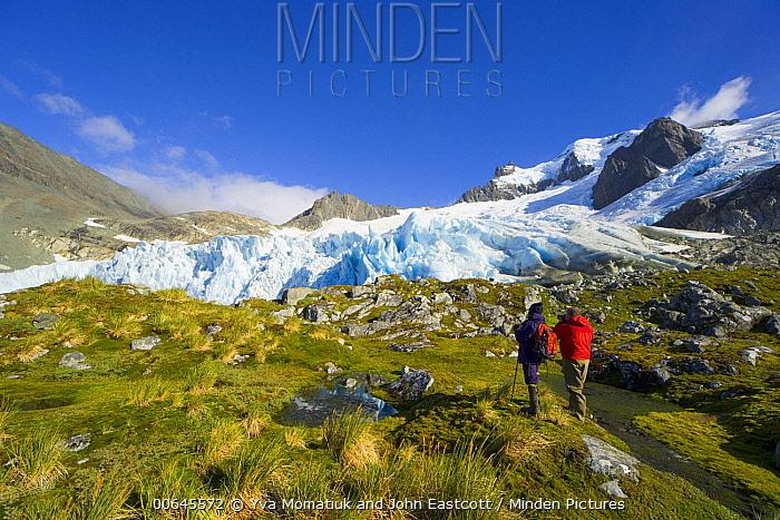Hikers near glacier, Salversen Range, South Georgia Island