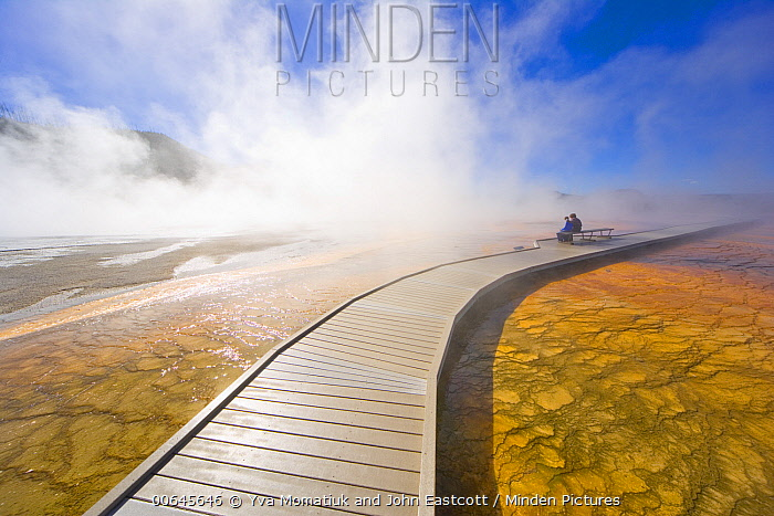 Tourists and hot spring, Grand Prismatic Spring, Yellowstone National Park, Wyoming