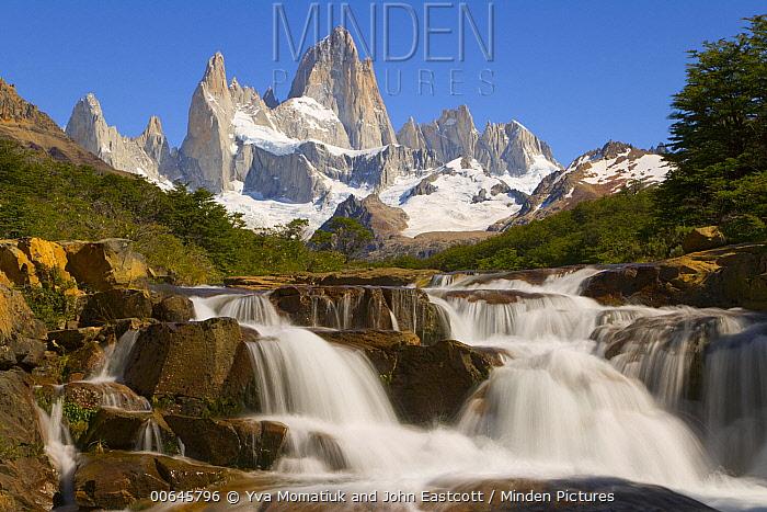 Waterfall and mountains, Arroyo del Salto River, Fitzroy Massif, Los Glaciares National Park, Patagonia, Argentina