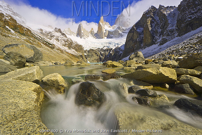 Stream and mountains, Los Glaciares National Park, Patagonia, Argentina