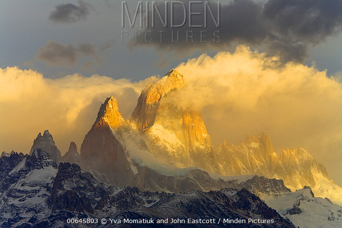 Cumulus clouds and mountains, Fitzroy Massif, Los Glaciares National Park, Patagonia, Argentina