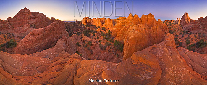 Sandstone rock formations, Arches National Park, Utah, 360 view