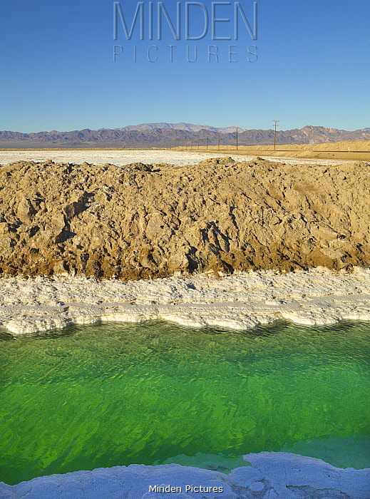 Salt evaporation canal for bleach production, Mojave Desert, Nevada