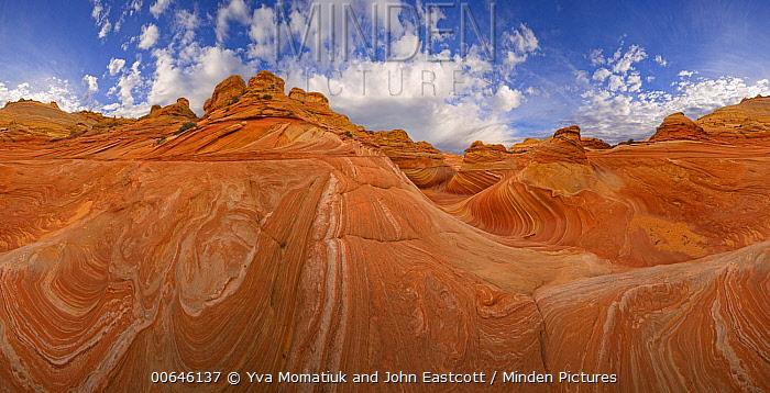 Swirls, layers and folds of Navajo sandstone create wild rocky landscape on Colorado Plateau, 360 view, Paria Wilderness Area, Arizona